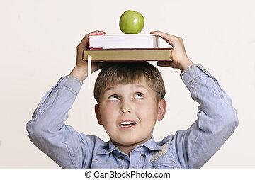 Schoolboy, books, apple