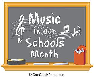 scholen, muziek, maand, ons