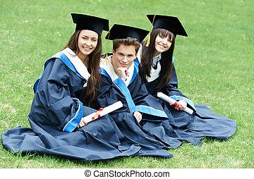 scholieren, afgestudeerd, vrolijke