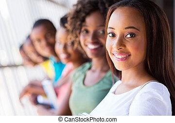 scholieren, afro, universiteit, groep, amerikaan