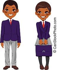 scholieren, amerikaan, afrikaan, uniform