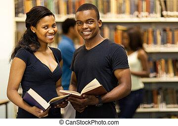 scholieren, amerikaan, universiteit, afrikaan