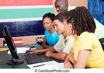 scholieren, amerikaan, volwassene, afrikaan