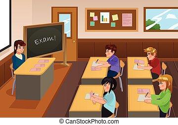 scholieren, boeiend, examen