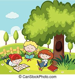 scholieren, boek, park, lezende
