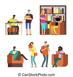 scholieren, boekjes , illustratie, vector, tijdschriften, internationaal, lezende