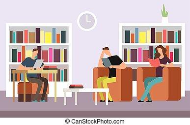 scholieren, bookshelves, grondig, bibliotheek, publiek, vector, boekjes , illustratie, interieur, lezende , spotprent