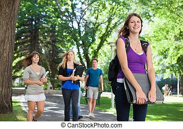 scholieren, buiten, universiteit