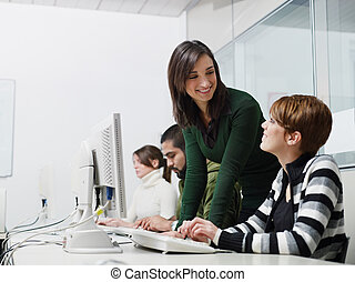 scholieren, computer, leraar, stand