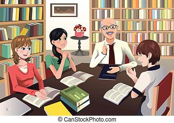 scholieren, discussie, hebben, hun, universiteitsprofessor