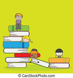 scholieren, en, boekjes