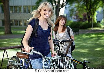 scholieren, fietsen, universiteit, vrouwlijk