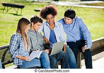 scholieren, gebruikende laptop, college universiteitsterrein