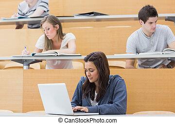 scholieren, gebruikende laptop, lezing, een