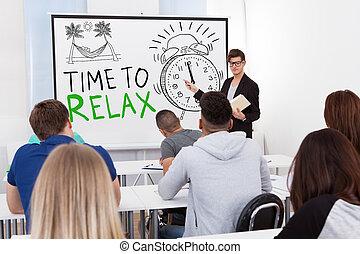 scholieren, grafieken, universiteit, leraar, onderwijs