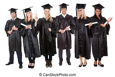 scholieren, groep, afstuderen