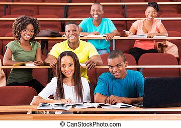 scholieren, groep, universiteit, afrikaan