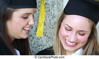 scholieren, het kijken, fototoestel, vrolijke , digitale