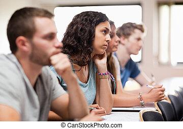scholieren, het luisteren, een, spreker