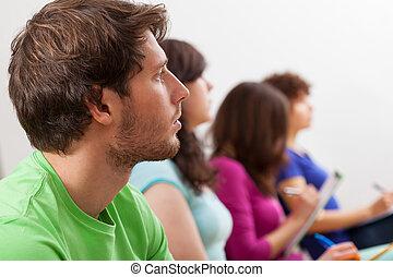 scholieren, het luisteren, lezing