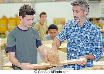 scholieren, houtwerk, les
