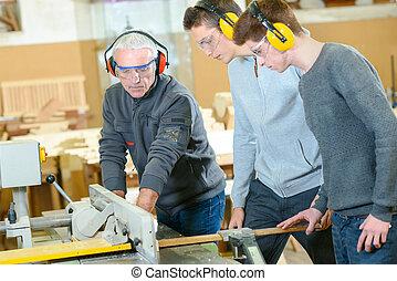 scholieren, houtwerk, mannelijke , stand