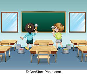 scholieren, hun, schilderij, klaslokaal