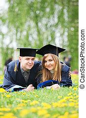 scholieren, jonge, afstuderen