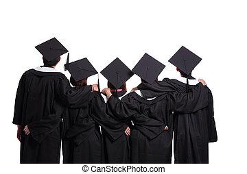scholieren, kijkend, afstuderen