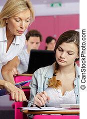 scholieren, klaslokaal, leren