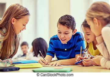 scholieren, klesten, school, groep, schrijvende