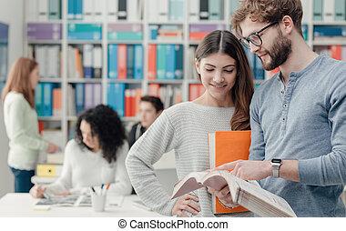 scholieren, leren, samen