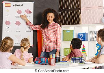 scholieren, leren, spaanse