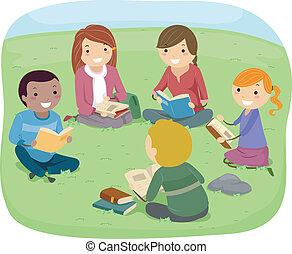 scholieren, lezende , park