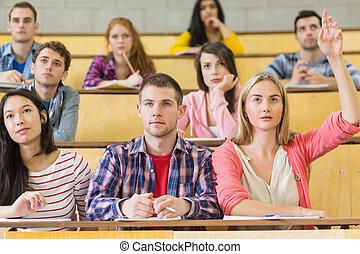 scholieren, lezing, het concentreren, zaal
