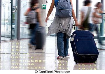 scholieren, luchthaven