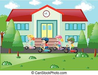 scholieren, manege, fiets