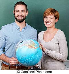 scholieren, met, globe