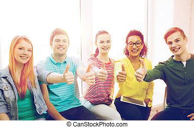 scholieren, met, tablet pc, computers, op, school