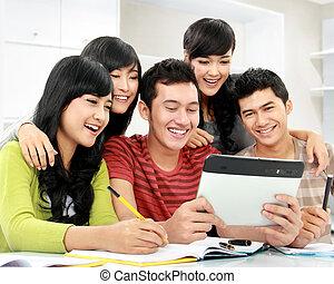 scholieren, met, tablet