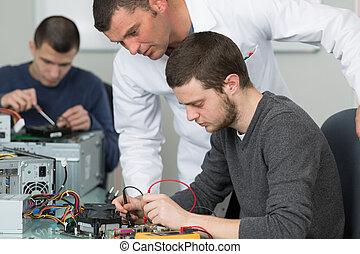 scholieren, opleiding, elektronisch, leraar, componenten