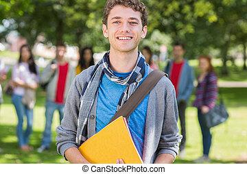 scholieren, park, universiteit, boekjes , vasthouden, jongen