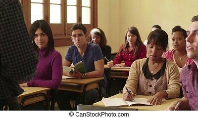 scholieren, professor, het spreken