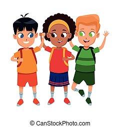 scholieren, schattig, school, kindertijd, spotprent