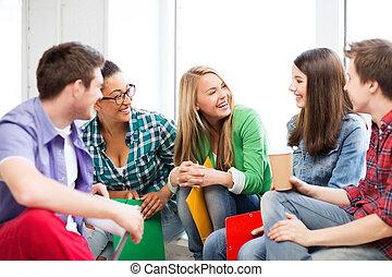 scholieren, school, lachen, het communiceren