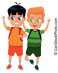 scholieren, school, schattige, kindertijd, spotprent