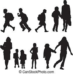 scholieren, silhouettes