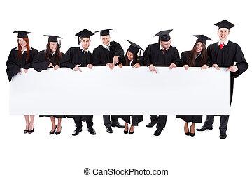scholieren, spandoek, vasthouden, lege, afstuderen