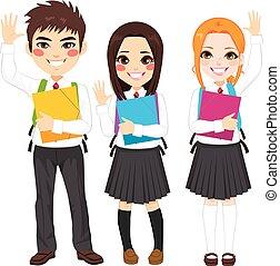 scholieren, staand, het watergolven hands