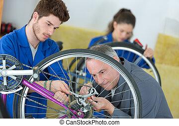 scholieren, stand, mechanisch